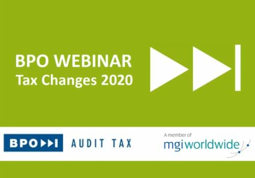 MGI World BPO Audit webinar cover - Tax Changes 2020