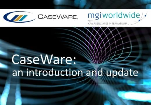 MGI World Montage of tech background with CaseWare and MGI Worldwide logos and webinar title overlaid