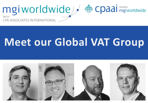 "MGI World Tech background image with ""Global VAT Specialist Group"" overlaid + MGI Worldwide and CPAAI logos"