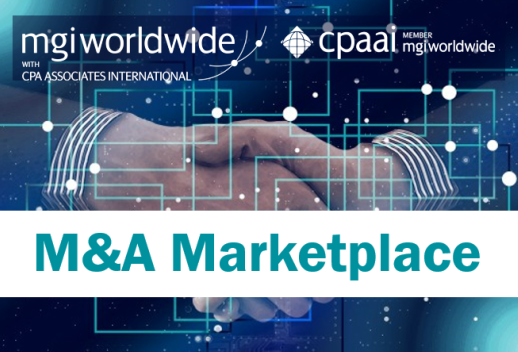 MGI World Handshake picture as background for M&A Marketplace promotion