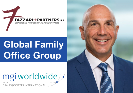 MGI World Montage of profile picture of Frank Fazzari + logos of member firm Fazzari + Partners LLP and MGI Worldwide with CPAAI