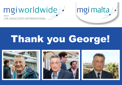 MGI World Collage of 3 pictures of George Farrugia with MGI Malta and MGI Worldwide logos and thank you message