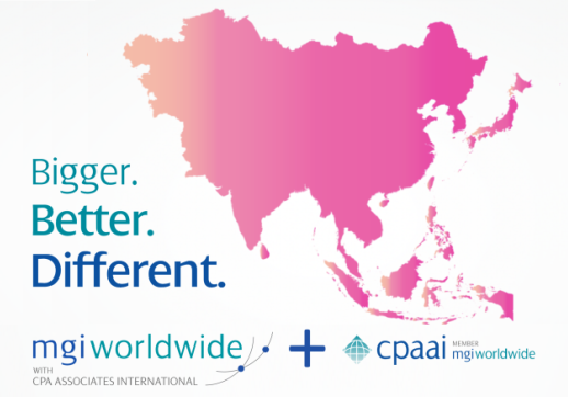 "MGI World Asia map background with MGI + CPAAI logos and ""Bigger, Better, Different"" overlaid"