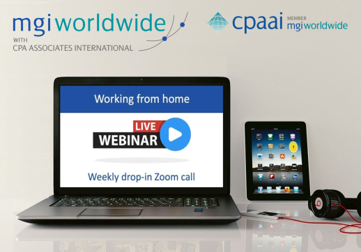 "MGI World Computer and note pad background for ""wortking from home"" Zoom call"