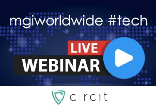 MGI World MGI Worldwide #techwebinar image with Circit logo at the bottom