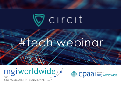 "MGI World Tech background with Circit logo + MGI Worldwide and CPAAI logos overlaid as well as ""#tech webinar"""