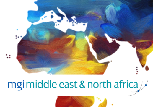 MGI World MENA map as a background with MGI MENA logo overlaid