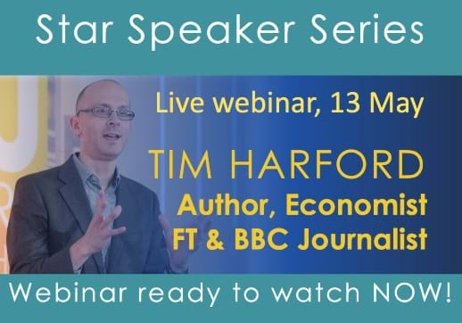 MGI World Star speaker with picture of Tim Harford and Watch video now text