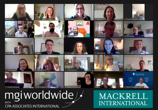 MGI World Screenshot image of the Marketing and Comms Zoom call with the logos of MGI Worldwide with CPAAI and Mackrell International