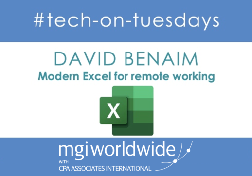 MGI World #tech-on-tuesdays layout for David Beanim's webinar on Modern Excel
