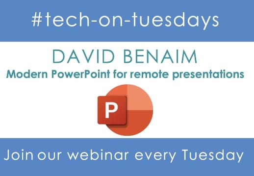 MGI World #tech-on-tuesdays layout for Powerpoint webinar