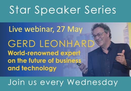 MGI World Star Speaker image layout featuring Gerd Leonhard