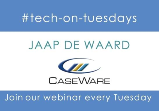 MGI World #tech-on-tuesdays webinar background image with CaseWare logo an webinar name overlaid