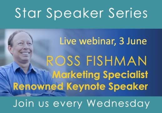 MGI World Star speaker webinar event details with host Ross Fishman picture and MGI Worldwide & CPAAI logos overlaid