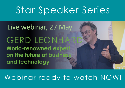 MGI World Image of speaker Gerd Leonhard with the details about his Star Speaker webinar overlaid