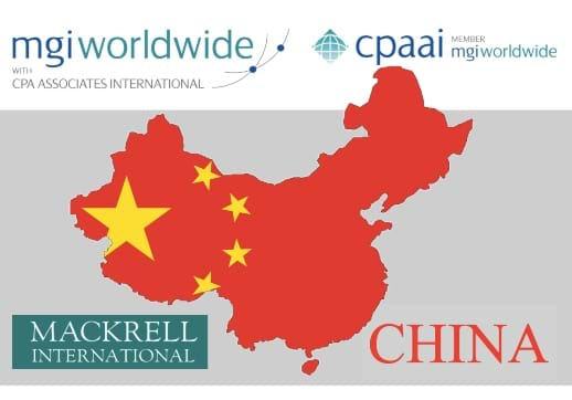 MGI World Red map of China with text a and logos