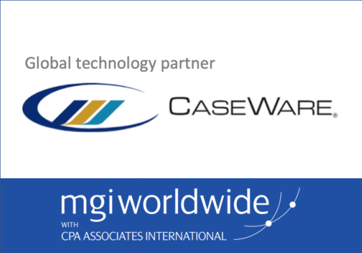 MGI World CaseWare technology partner logo and MGI Worldwide with CPAAI logo montage