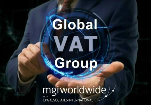 MGI World Global VAT Group tag and MGI Worldwide with with CPAAI logo overlaid on tech backround