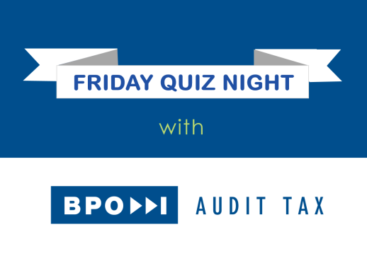 MGI World Friday Quiz night blue and white montage with BPO Audit Tax logo