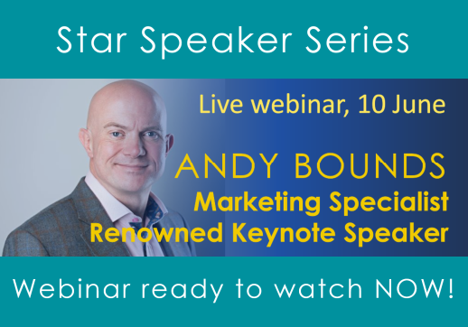 MGI World Star speaker webinar event details with host Andy Bounds picture