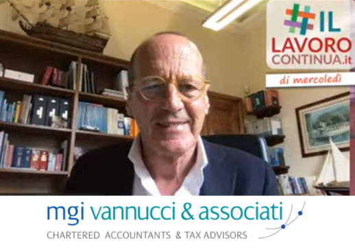 MGI World Screenshot of Pierpaolo Vannucci #IlLavoroContinua webinar with MGI Vannuci & Associati logo overlaid