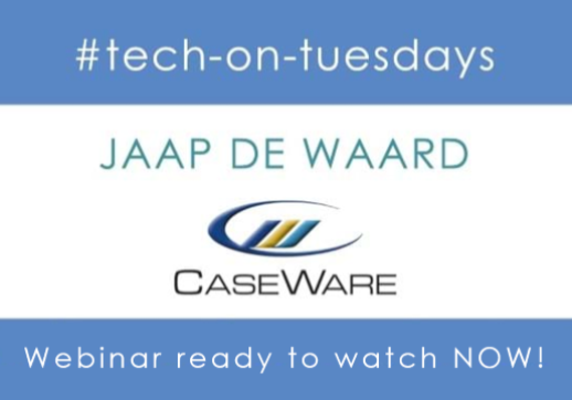 MGI World #tech-on-tuesdays webinar background image with CaseWare logo