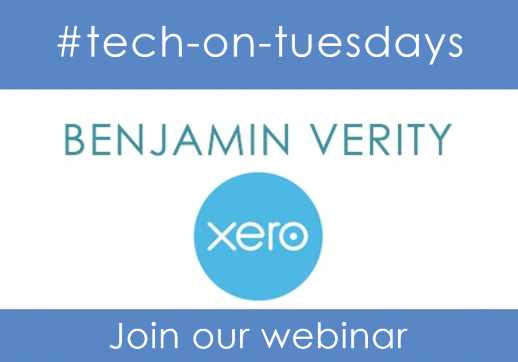MGI World #tech-on-tuesdays webinar background image with Xero logo
