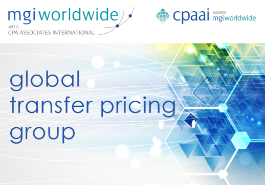 MGI World Global Transfer Pricing Group with abstract background