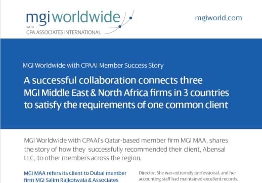 MGI World Success Story detail of front page of MGI Worldwide with CPAAI members Success Story