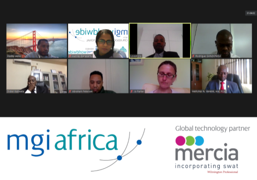 MGI World Screenshot of Africa regional members zoom call with MGI Africa and Mercia Group logos overlaid