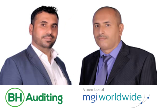 MGI World Montage with Haytham Abdulmalek Modhish and Basheer Nagi Al-Siady profile pictures and BH Auditing overlaid