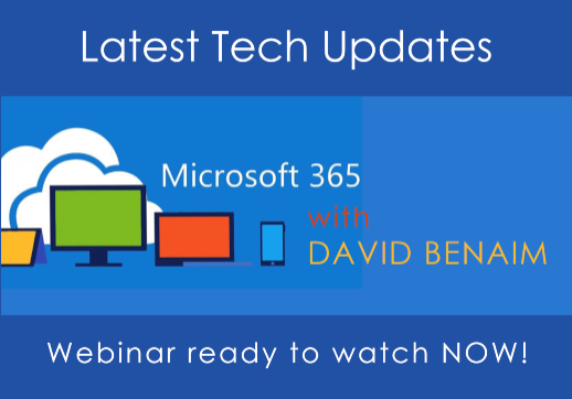 MGI World #tech-on-tuesdays webinar background image with Microsoft 365 image and David Benaim  overlaid