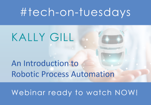 MGI World #tech-on-tuesdays webinar background image for Kally Gill webinar on RPA