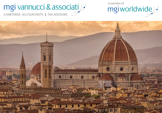 MGI World Florence landscape background image with MGI Vannucci and Member of MGI logos overlaid