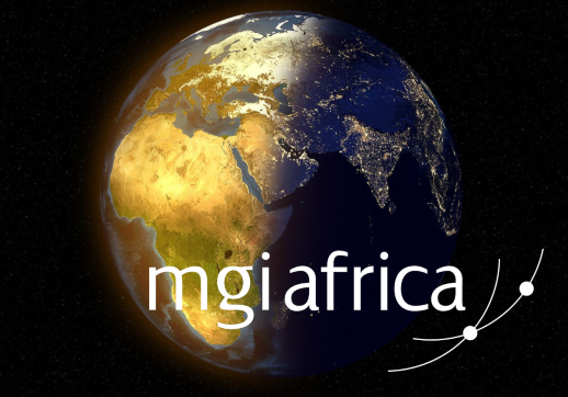 MGI World Africa region in the globe with MGI Africa logo overlaid
