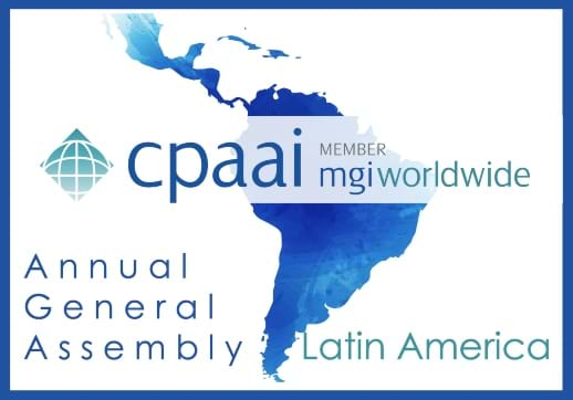 MGI World Latin America map with CPAAI Annual Meeting headline and logos overlaid