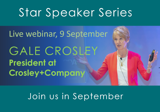 MGI World Gale Crosley Star Speaker photograph with webinar text overlay
