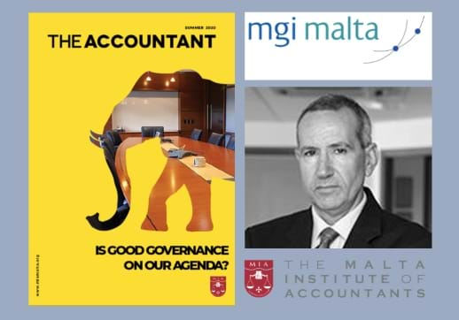 MGI World MGI Malta logo, profile picture of Franco Prvitelli and cover of The accountant montage