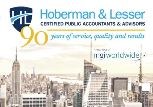 MGI World New york skyline with overlay of Hoberman & Lesser Anniversary logo 518X362