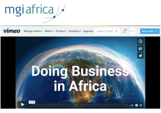 MGI World Africa Video screenshot of vimeo page
