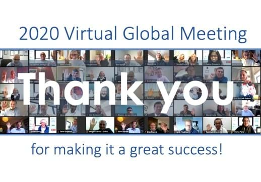 MGI World zoom call attendees with text above and below