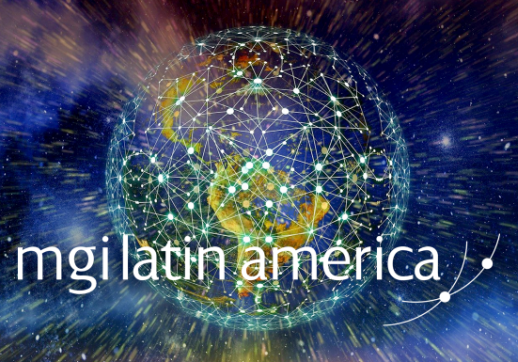 MGI World Latin America as background with MGI Worldwide + Latin America and Mackrell International logos