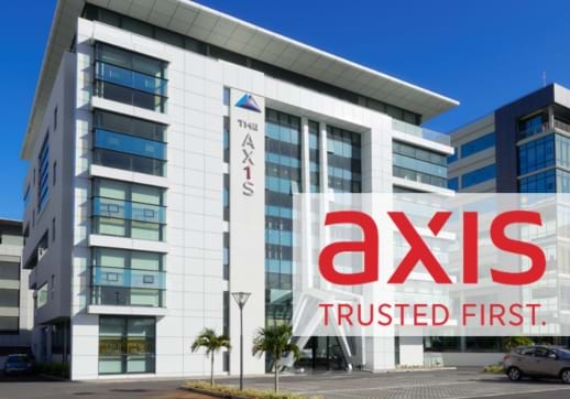 MGI World Axis building in Mauritius with their logo overlaid