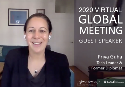MGI World Picture of Priya Guha: guest speaker at the 2020 Virtual Global Meeting