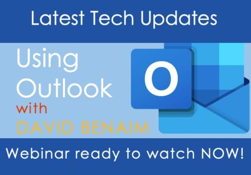 MGI World Using outlook webinar lead image with text overlay and outlook logo