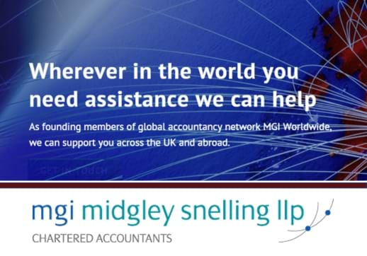 MGI World Print screen of MGI Midgley Snelling's new website home page