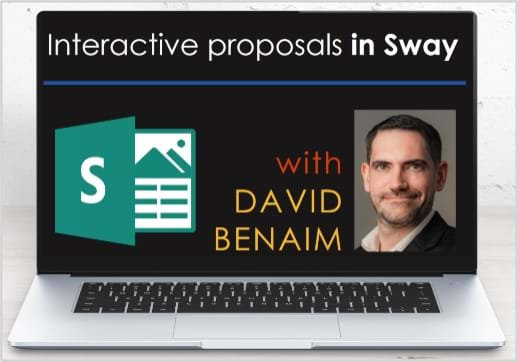 MGI World Laptop background for David Benaim's webinar on Why pdfs are dead – Build a visual interactive proposal in Sway