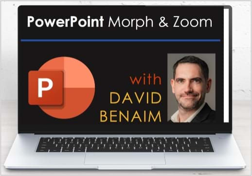 MGI World Laptop background for David Benaim's webinar on Setting up PowerPoint Morph & Zoom