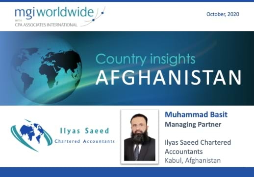 MGI World Profile picture and globe on blue background for Afghanistan Country Insight