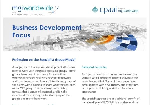 MGI World Print screen of the Business Development Focus newsletter